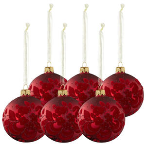 CHRISTBAUMKUGEL-SET 6-teilig Rot