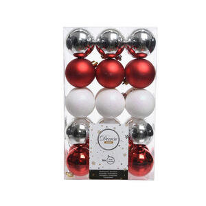 CHRISTBAUMKUGEL-SET 30-teilig Rot, Silberfarben, Weiß