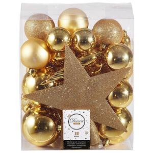 CHRISTBAUMKUGEL-SET 33-teilig Goldfarben