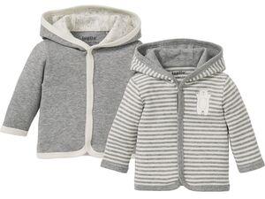 LUPILU® Baby Jacken, 2 Stück, mit Kapuze, Knopfleiste, aus reiner Bio-Baumwolle