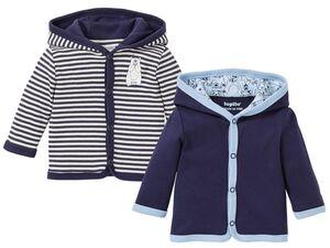 LUPILU® Baby Jacken Jungen, 2 Stück, mit Kapuze, Knopfleiste, aus reiner Bio-Baumwolle