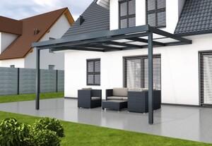 Gutta Premium Terrassendach anthrazit, 4102 x 4060 mm, PC weiß opal 16 mm