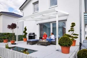 Gutta Premium Terrassendach weiß, 4102 x 4060 mm, PC weiß opal 16 mm
