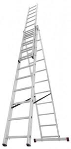 Arbeitsh/öhe 9,25 m max Vielzweckleiter 3x6 Sprossen 3-teilige Alu-Kombileiter