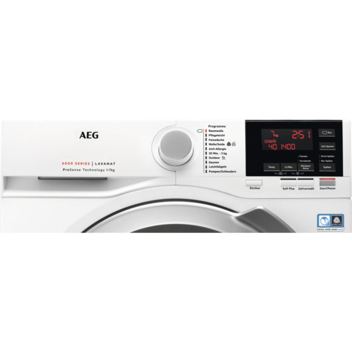 Bild 2 von AEG Waschmaschine L6FB647FH (A+++, 7 kg Fasungsvermögen, 1400 U/min, Schontrommel, Aquastop, Display, Inverter)