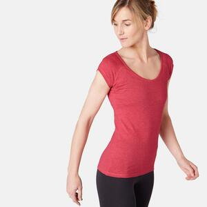 T-Shirt 500 Slim Pilates sanfte Gym Damen rosameliert