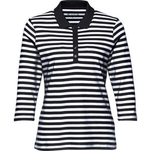 Adagio Damen 3/4-Arm-Poloshirt, gestreift