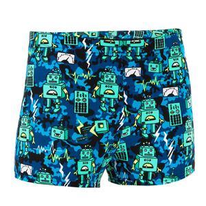 Badehose Boxer 500 Fitib All Robot Jungen grün/blau