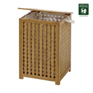 Wäschetruhe - Bambus - mit Innenbeutel mit 2 Griffen - Maße: ca. H 58 x  B 40 x T 40 cm