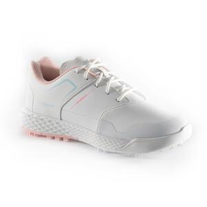 Golfschuhe Grip Waterproof Mädchen weiss/rosa
