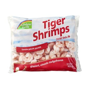 Tiger Shrimps geschält, gekocht, gefroren, jeder 1000-g-Beutel / 900 g Abtropfgewicht