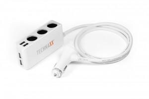 Technaxx 4-Port USB & 3-Socket Car Charger TE11