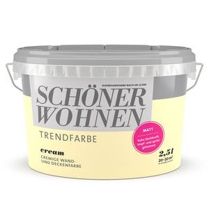 Schöner Wohnen Wand- und Deckenfarbe Trendfarbe 'Cream' cremebeige matt 2,5 l
