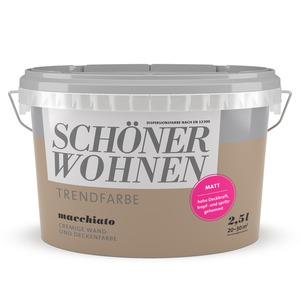 Schöner Wohnen Wand- und Deckenfarbe Trendfarbe 'Macchiato' milchkaffeebraun matt 2,5 l
