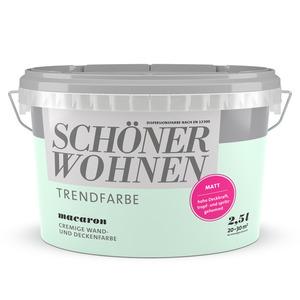 Schöner Wohnen Wand- und Deckenfarbe Trendfarbe 'Macaron' mintgrün matt 2,5 l