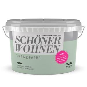 Schöner Wohnen Wand- und Deckenfarbe Trendfarbe 'Spa' graugrün matt 2,5 l