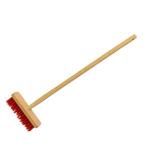 Schrubber 24 cm mit Kunststoffborsten und Holzstiel