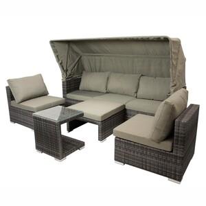 Lounge Gruppe Manacor 5-teilig. Polyrattan grau Alu-Gestell inkl. Polster
