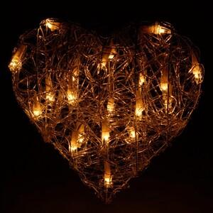 Weihnachtsbeleuchtung Herz Acryl 30 cm 20 Lichter warmweiß innen