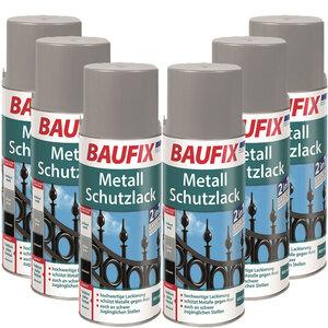 BAUFIX Metallschutzlack Spray silbergrau 6er-Set