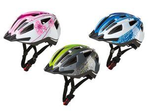 CRIVIT® Kinder Fahrradhelm, mit LED-Rücklicht und Visier, Einhand-Größenverstellsystem