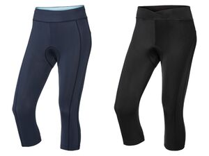 CRIVIT® Funktionscaprihose Damen, Beinabschluss mit Antirutschfunktion, mit Sitzpolster
