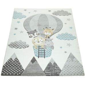 Paco Home Kinderzimmer Teppich Blau Grau Heißluftballon Wolken Tiere 3-D Design Pastell