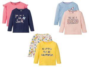 LUPILU® Kleinkinder Langarmshirt Mädchen, 2 Stück, aus reiner Baumwolle