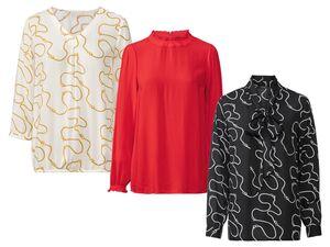 ESMARA® Bluse Damen, V-Ausschnitt oder Stehkragen, aus Viskose