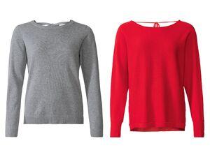 ESMARA® Pullover Damen, mit Rundhalsausschnitt, Bindeband im Nacken, aus reiner Baumwolle