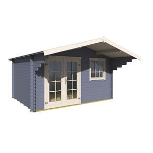 Blockbohlenhaus 'Hawaii 1' taubenblau/weiß