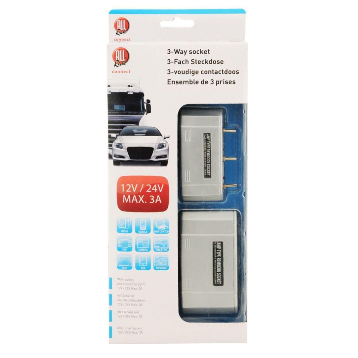 Bild 2 von 3-fach Steckdose mit Schalter für Zigarettenanzünder