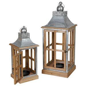 Indoor-Laterne aus Zink und Holz 2er-Set