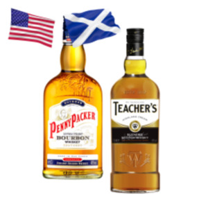 Teacher's Highland Cream Scotch Whisky oder PennyPacker Bourbon Whiskey