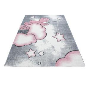 KINDERTEPPICH 160/230 cm Grau, Weiß, Pink