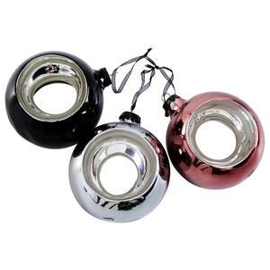 CHRISTBAUMKUGEL-SET 3-teilig Schwarz, Silberfarben, Bronzefarben