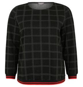Samoon Sweatshirt, kariert, Streifen-Bündchen, Große Größen