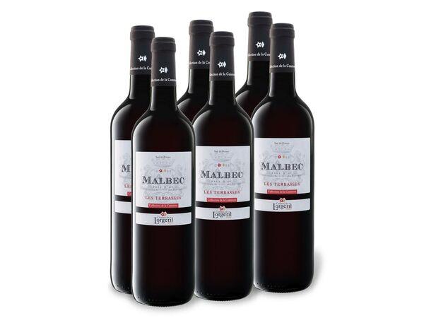 6 x 0,75-l-Flasche Malbec Pays d'Oc Les Terrasses IGP trocken, Rotwein