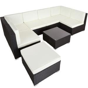 Rattan Lounge mit Stahlgestell Venedig schwarz
