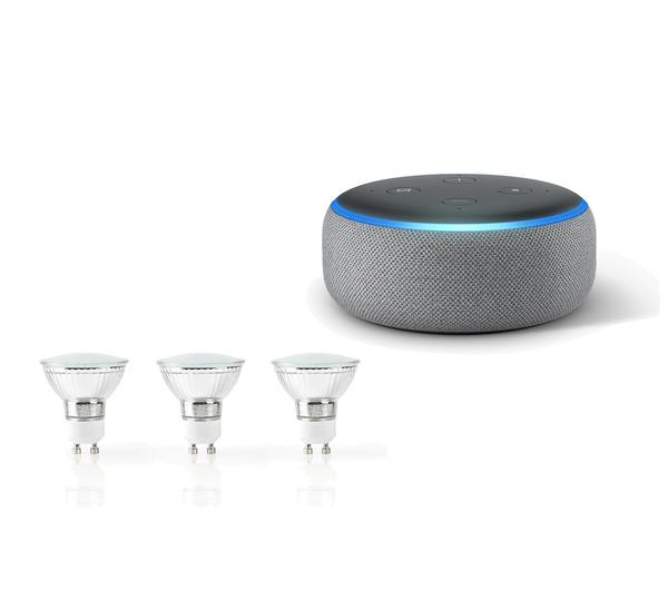 Amazon Echo Dot 3. Generation Smart-Speaker mit Alexa, Hellgrau Stoff plus Nedis WLAN Smart LED-Leuchtmittel