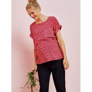Vertbaudet     Umstands-Bluse mit kurzem Ärmel rot geblümt
