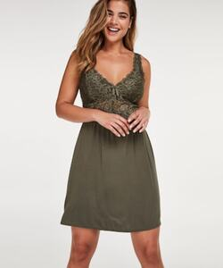Hunkemöller Slipdress Modal Lace mit Spitze grün