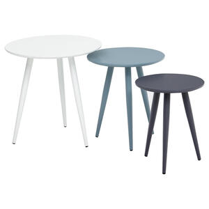 BEISTELLTISCHSET rund Blau, Grau, Grün, Weiß
