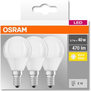 Osram LED-Tropfenlampe, 470 Lumen, 5W, E14, dimmbar, 3er Pack, A+