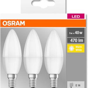 Osram LED-Kerzenlampe, 470 Lumen, 5W, E14, 3er Pack, A+