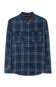 Kariertes Langarmhemd in Blau