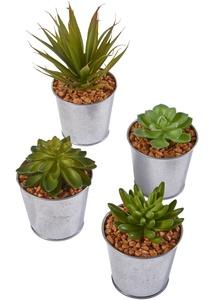 Kunstpflanzen Sukkulenten im Metalltopf (4-tlg.Set)