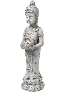 Deko-Figur Buddha mit Windlicht