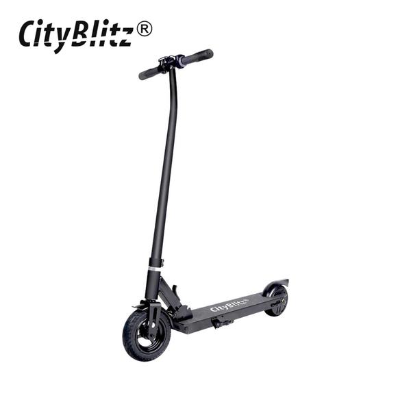 E-Scooter CB 050 - Motor: 250 Watt - Li-Ionen-Akku 36 V / 4,4 Ah - Reichweite: bis zu 12 km - max. Geschwindigkeit: ca. 24 km/h - max. Nutzergewicht: ca. 100 kg - elektrische Bremse vorne, Rücktritt