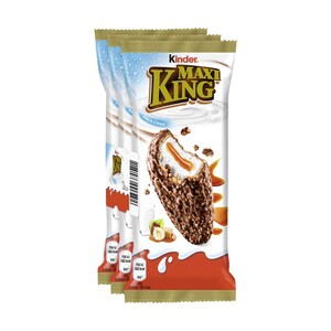 Kinder Maxi King  3 x 35 g = 105 g  oder Kinder Choco fresh 5 x 20,5 = 102,5 g, jede Packung